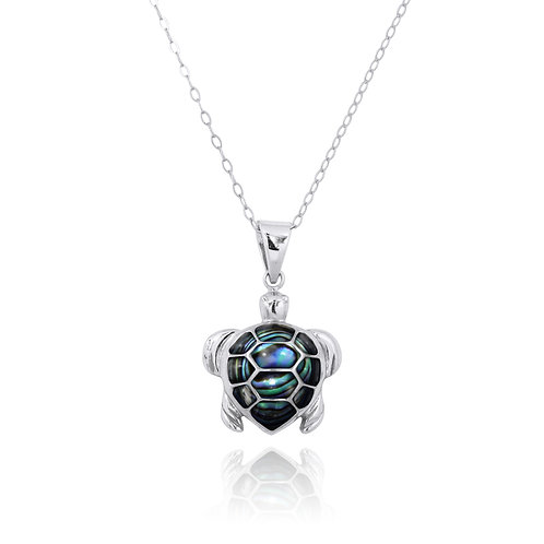 NP11022-ABL - The Turtle - Amazing Abalone Sea Turtle pendant