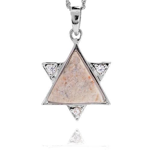 NP10369-JRSL - Elegant Star Of David pendant with White CZ