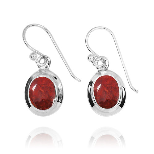 NEA3272-SPC - Elegant Oval Sponge Coral Earrings