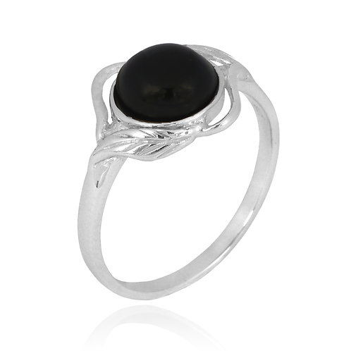 [NRB7481-BKON] Sterling Silver Black Onyx Ring with Leaf Patterns