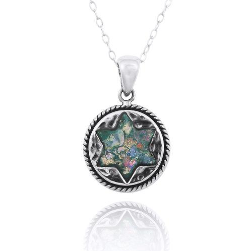 NP12216-RG -Classic roundRoman Glass pendant - star of David design