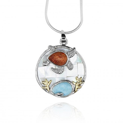 [KPG9-LAR] Pear shape larimar with sea tutle , round Mother of pearl pendant