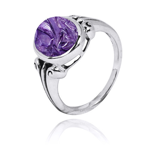 NRB3631-CHR - Classic silver Ring with Round Charoite Stone