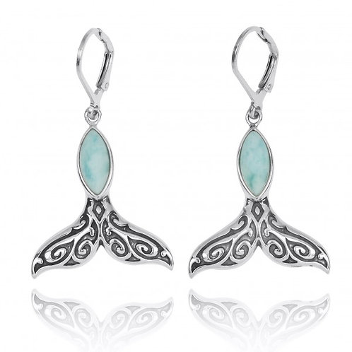 [NEA3323-LAR] Sterling Silver Whale Tale with Larimar Lever Back Earrings
