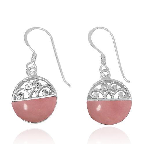 NEA2188-PPKOP -  Half Dome Shape Peru Pink Opal Ethnic Style Earrings