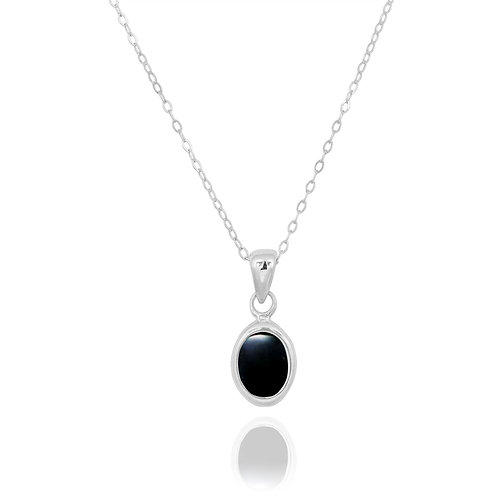 NP12337-BKON - Classic Oval Silver Pendant with a Black Onyx Piece