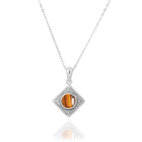 NP12361-BRTE - Ethnic Square Design Silver Pendant with a Round Tiger Eye Piece