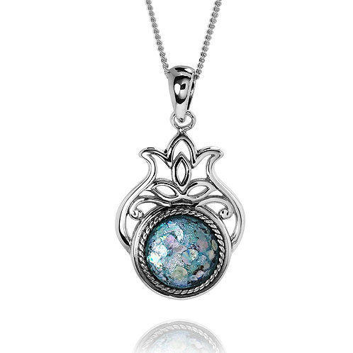 NP12070-RG - Elegant Pomegranate Pendant with Round Roman Glass Piece