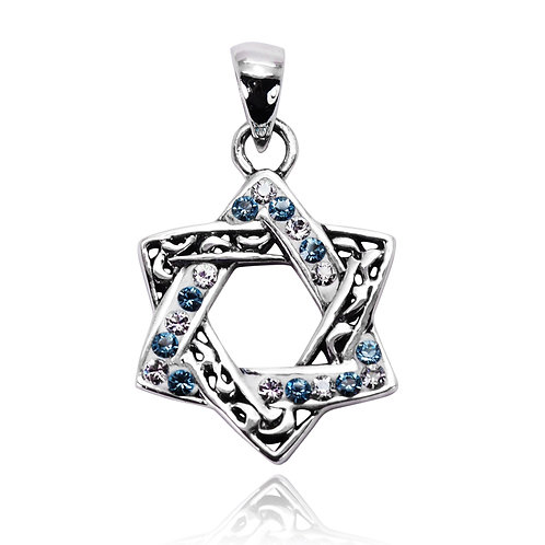 NP8292 - Classic Star of DavidPendant with Light blue crystals