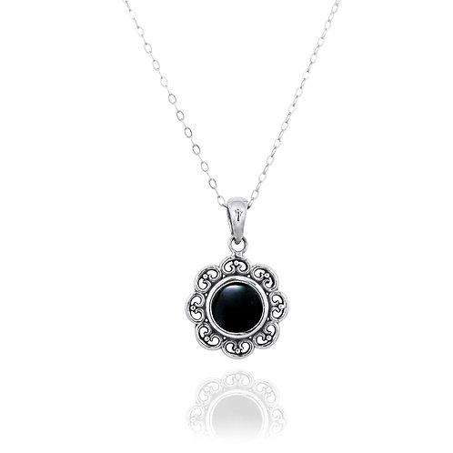 NP12223-BKON - Elegant Flower Silver Pendant with a Round Black Onyx Piece