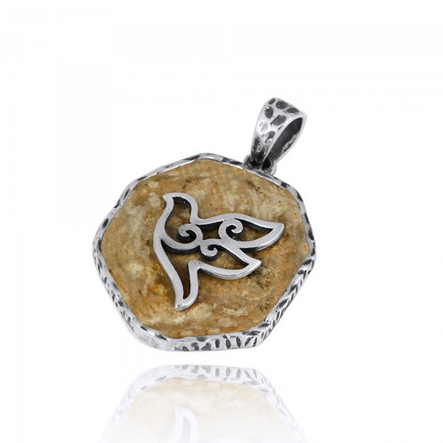 [NP11629-JRSL] Jerusalem Stone Pendant With Sterling Silver Dove