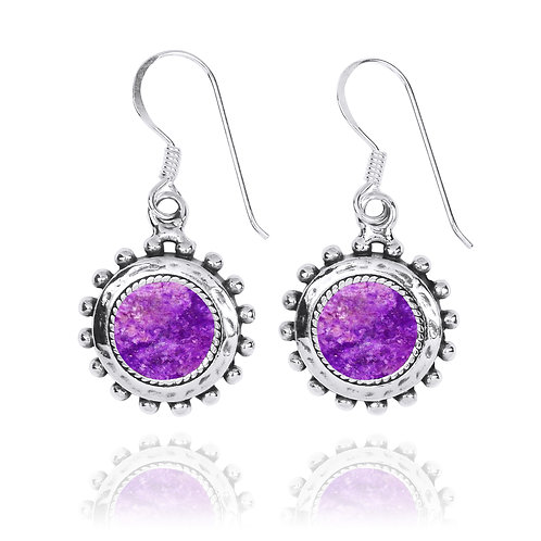 NEA3756-SUG - Round Spiked Earrings with Sugilite Stones