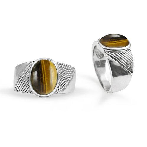 [NRB6796-BRTE] Round Shape Tiger Eye Gemstone Ring