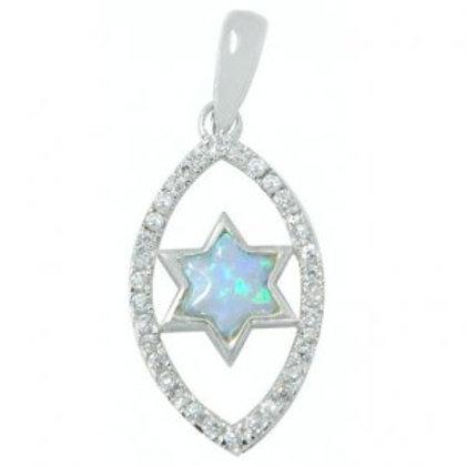 NP8772-1 - S Blue Opal Star of David pendant , Crystal frame - Eye shape