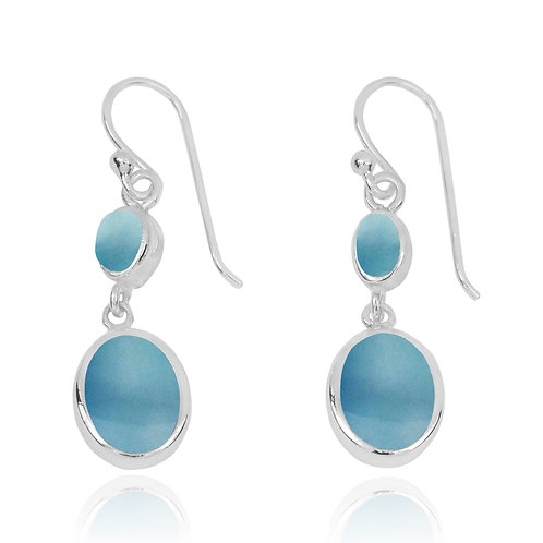 NEA3718-LAR - Elegant Dangling 2 part earrings with Larimar Stones