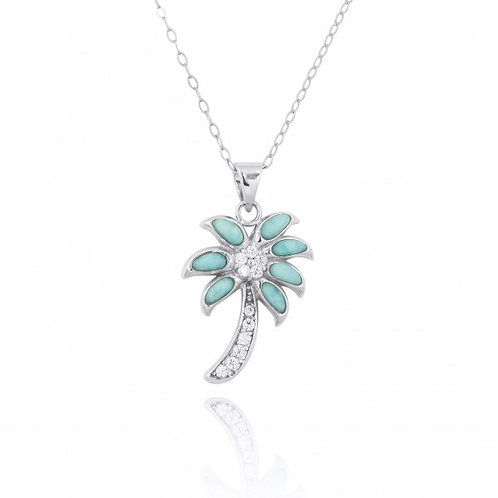 [NP11312-LAR-WHCZ-SWBLT] Sterling Silver Palm Tree with Larimar and CZ Pendant