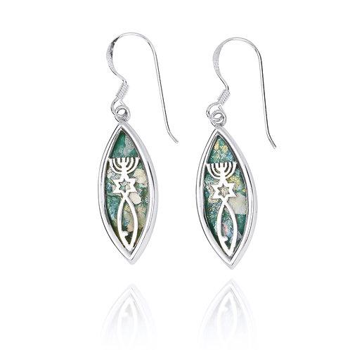 NEA2717-RG - Classic Roman Glass Messianic Earrings