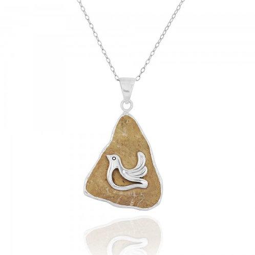 [NP11643-JRSL] Jerusalem Stone Pendant With Sterling Silver Dove