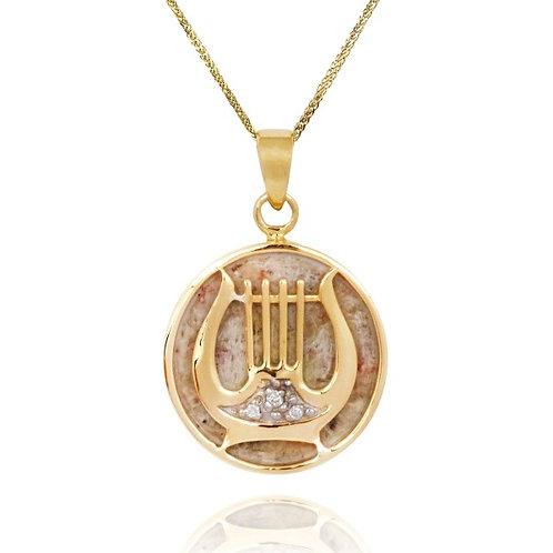 [NP12726-JRSL-DIA-14K] 14K Gold David's Harp Round Pendant with Jerusalem Stone