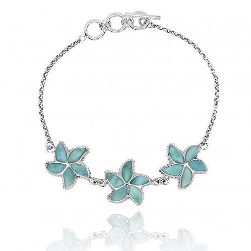 [NB1456-LAR] Sterling Silver Starfish with Larimar Chain Bracelet