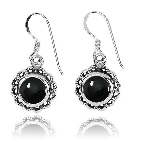 NEA3749-BKON-Flowery Earrings with Black OnyxStones