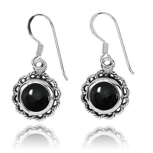 NEA3749-BKON-Flowery Earrings with Black OnyxStones