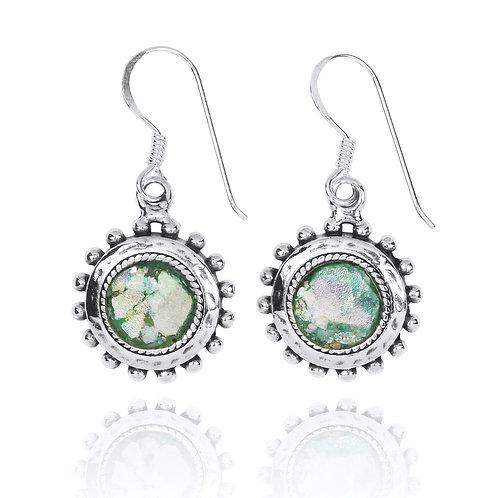 NEA3756-RG - Classic Floral Shape Roman Glass Earings
