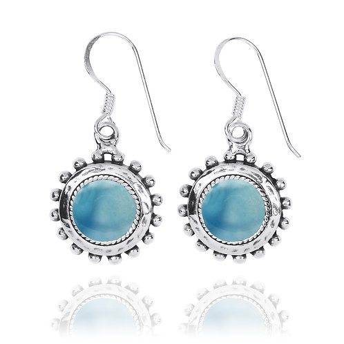 NEA3756-LAR - Round Spiked Earrings with Larimar