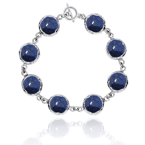 [NB1174-LAP] Sterling Silver Chain Bracelet with 8 Round Lapis Lazuli