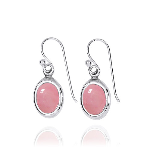 NEA3746-PPKOP-Oval Elegant Earrings with Peru Pink Opal