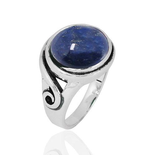 NRB8802-LAP -  Round Shape Lapis Lazuli Elegant Contemporary Ring