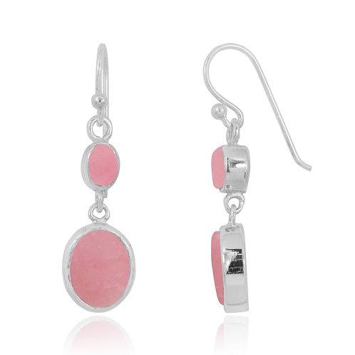 NEA3718-PPKOP - Elegant Dangling 2 Part Earrings with Peru Pink Opal