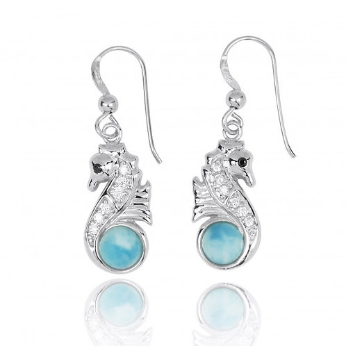 [NEA3245-LAR-BKCZ-WHCZ] Sterling Silver Seahorse Drop Earrings with Larimar and