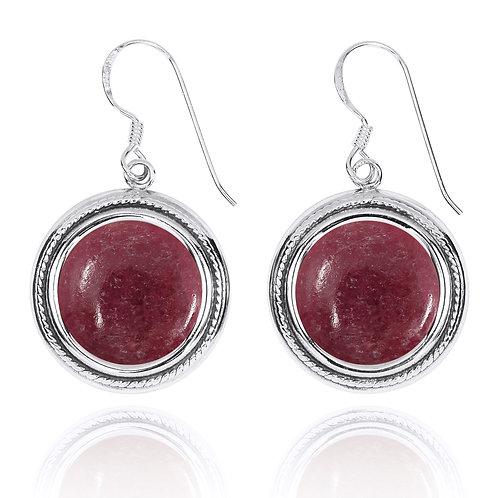 NEA2714-RDN - Classic Round Gemstone Earrings with Rhodonite