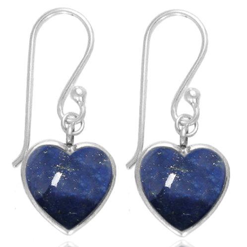[NEA0242-LAP] Heart Shape Lapis Drop Earrings