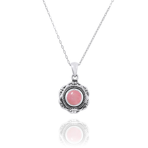 NP12359-PPKOP - Elegant Modern Silver Pendant with a Round Peru Pink Opal Piece