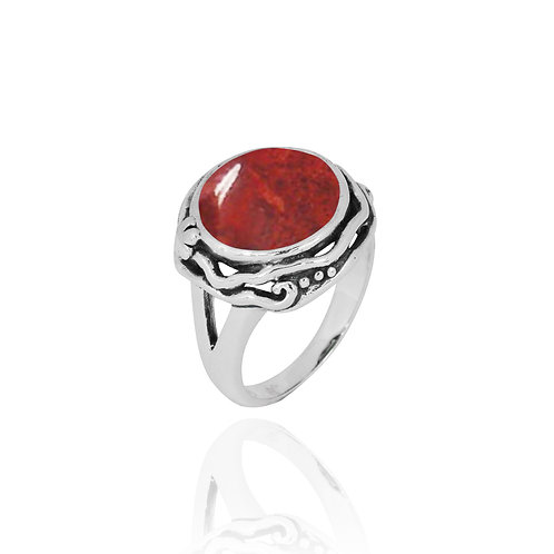 NRB8801-SPC -  Round Shape Sponge Coral Contemporary Ring