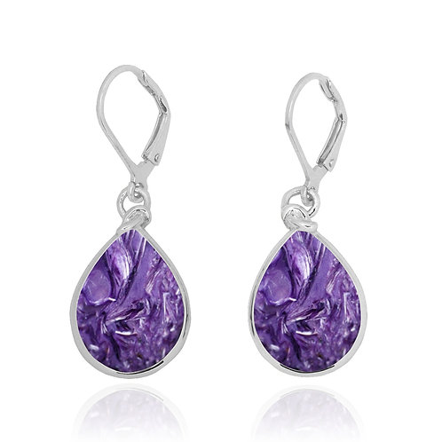 NEA3009-CHR -ClassicDrop Shape Charoite Earrings