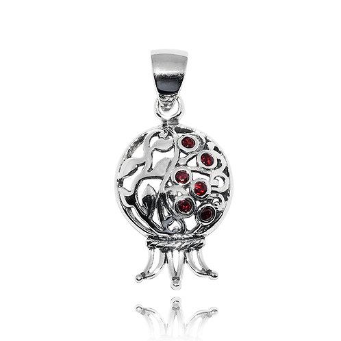 NP11301-GARCZ - Sterling Silver Pendant with Garnet Stone - Handmade Jewelry