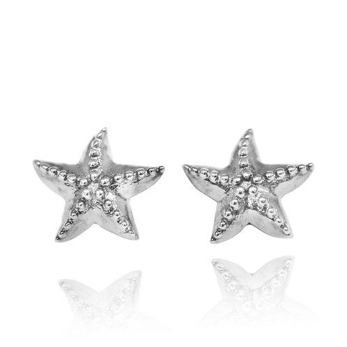 NES3722 - Elegant Silver Star Fish Stud Earrings