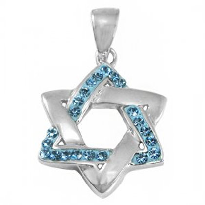 NP8254 - Star Of David Pendant with Light Blue CZ