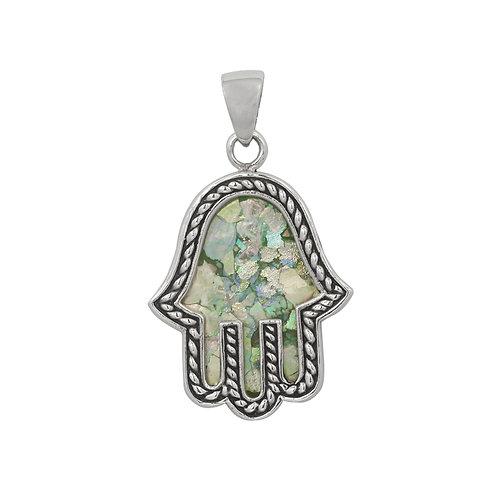 NP11840-RG - Hamsa Design Roman Glass Pendant