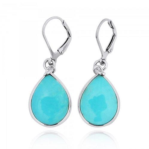 [NEA3009-STQ] Pear Shape Stabilized Turquoise Lobster Clasp Earrings