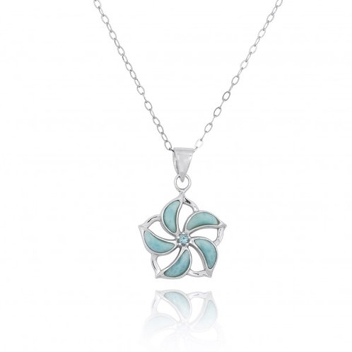 [NP11324-LAR-SWBLT] Hibiscus Shaped Sterling Silver Pendant with Larimar Starfis