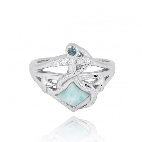 [NRB6918-LAR-LBLT-WHCZ] Sterling Silver Anchor Ring with London Blue Topaz and W