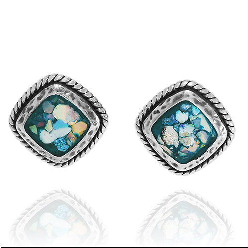 NES3517-RG - Classic Square Stud Earrings with Roman Glass