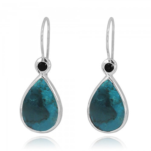 [NEA2189-GRTQ-BKSP] Pear Shape Compressed Turquoise French Wire Earrings