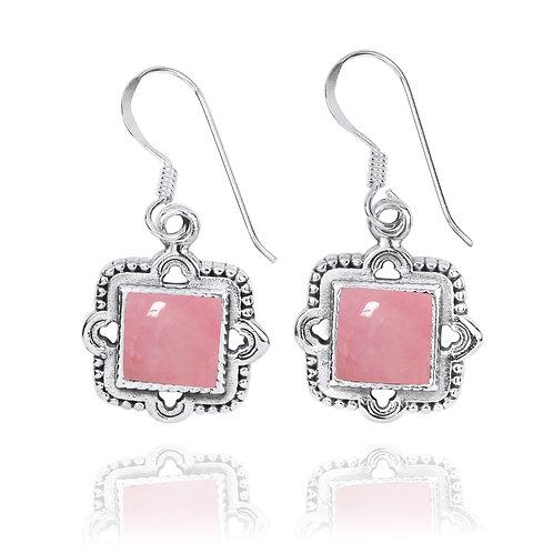NEA3765-PPKOP -Elegant Retro Square Earring with Peru Pink Opal Stones