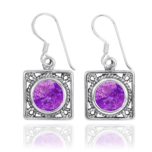 NEA3759-SUG -Elegant Square Earring - Rope Design with Sugilite Pieces