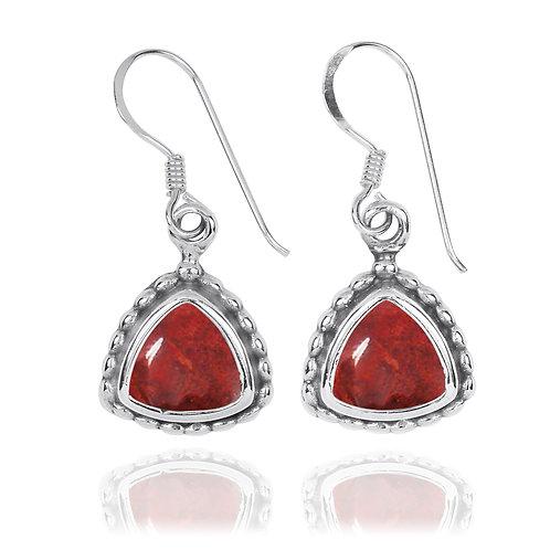 NEA3754-SPC -Classic Triangle Earrings with Sponge coral